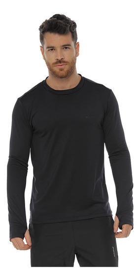 Camiseta Deportiva Protección Uv, Color Negro Para Hombre