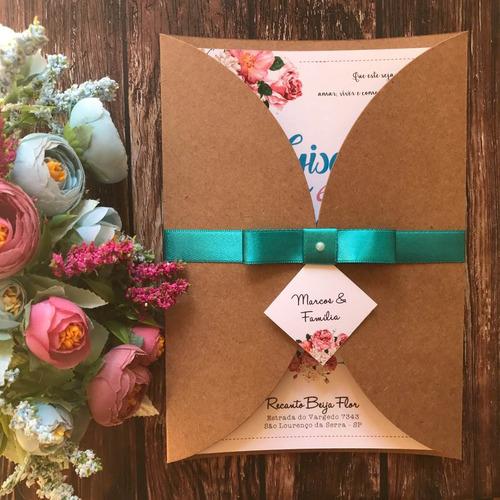 Imagem 1 de 7 de Convite De Casamento Rústico Floral Tiffany E Rosa