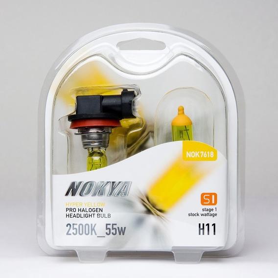 Lampada Nokya Hyper Yellow H11 Efeito Xenon Amarelo 2500k