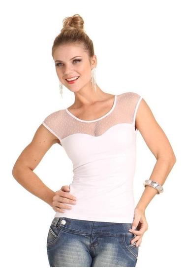 Blusa Branca Em Cotton Com Detalhe Em Tule