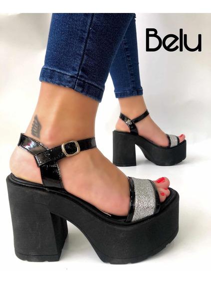 Zapato Sandalias De Mujer Con Plataforma Taco Y Brillo Belu