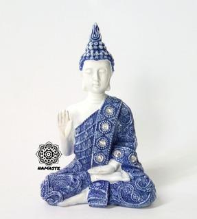 Figura Zen Buda Tibetano Blanco Azul Fina Resina Mudra Yoga