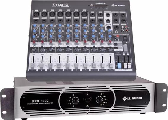 Kit Mesa Som 10 Canais Xms1002d + Potencia Pro1600 400w Nca