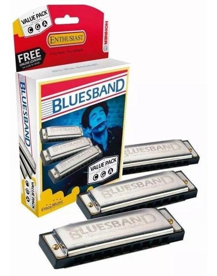 Gaita Hohner Kit Com 3 Harmônicas Blues Band C/g/a