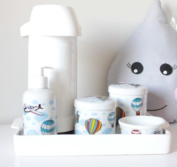 Kit Higiene Bebe Balões E Aviões Bandeja C/ Garrafa