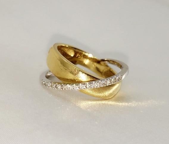 Anel Em Ouro Amarelo Ouro Branco E Diamantes Da Vivara!