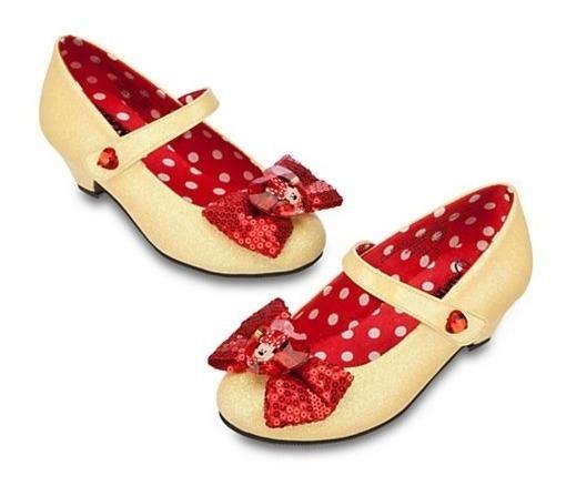 Sapato Minnie Glitter Oficial C/ Saltinho E Lacinho Vermelho