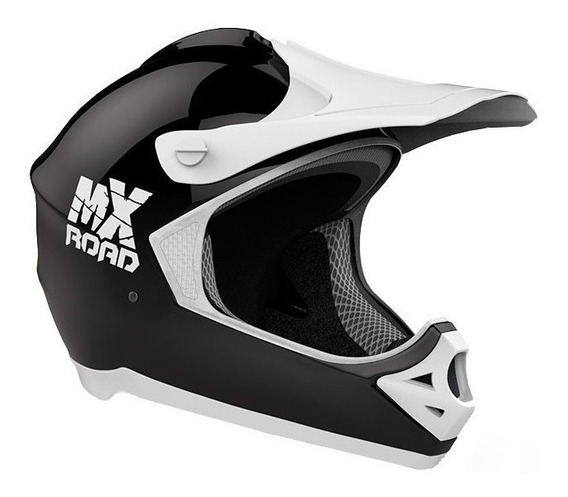 Casco para moto cross Halcon MX Road negro, blanco talle M