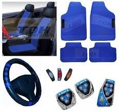Kit Azul Capa Banco Carro+tapete+pedaleira+ Voyage 86 87 88
