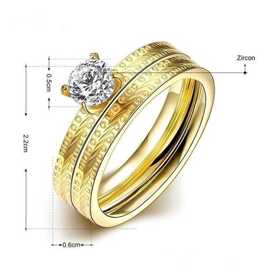 Anel Aparador Aliança Casamento Compromisso Banhado Ouro