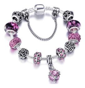 Pulseira Inspirada Pandora Bracelete Berloque Banhada Prata