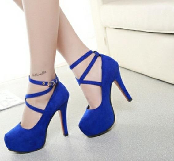 Sapato Camurça Importado Festa, Azul Rei, 38 Salto Fino 8 Cm