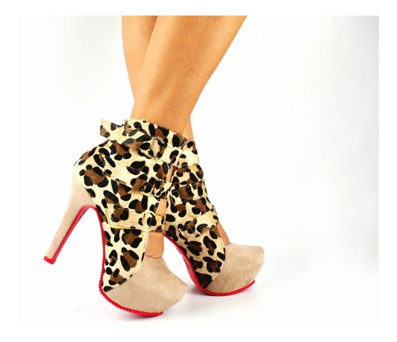 Ankle Boot Bota Feminina Cano Curto Nude Com Onça Top 748