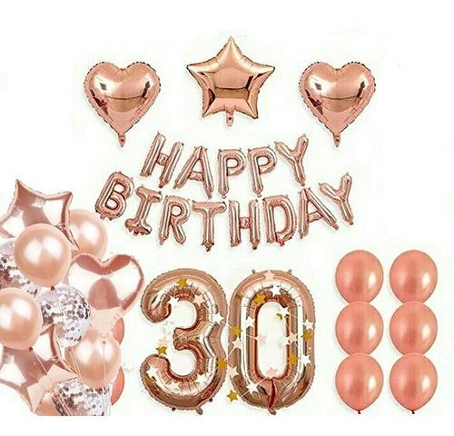 Kit Globos Metalicos 30 Años Cumpleaños Deco Fiesta Oro Rosa