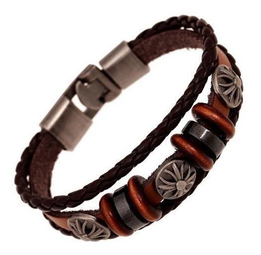 Bracelete Masculino Couro Legítimo E Metal Vintage Pulseira