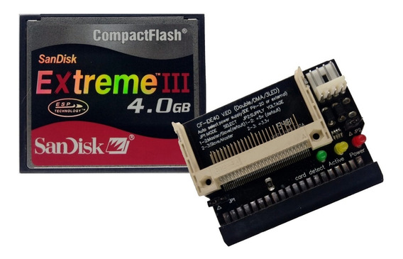 Kit 3 Adap. Cf X Ide Fêmea + Cartão Compact Flash 4gb Slc