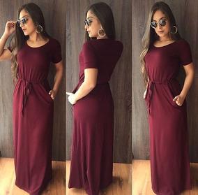 Vestido Longo Elastico Manguinha Blogueiras Tendencia 2018