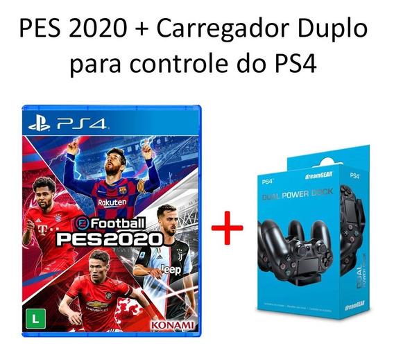 Kit Pes 2020 Ps4 + Carregador De Controle Lacrado Pes2020