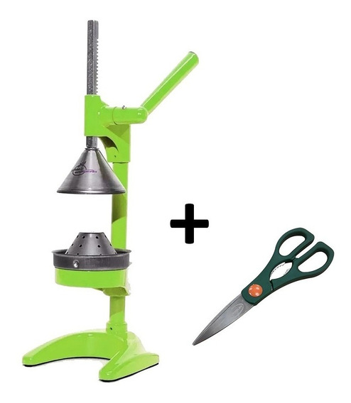 Exprimidor Citrus Jugo Manual Barbero Verde + Tijera Regalo