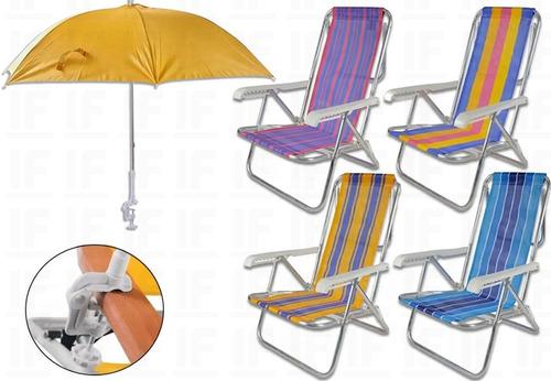 Cadeiras De Praia C/ Guarda-sol Sombrinha Cores Sortidas