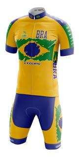Conjunto Ciclismo Sódbike Brasil - Camisa E Bermuda