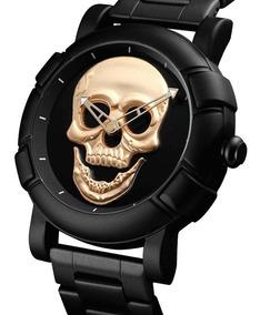 Relógio Skmei Skull 9178 Caveira Crânio 3d + Brinde
