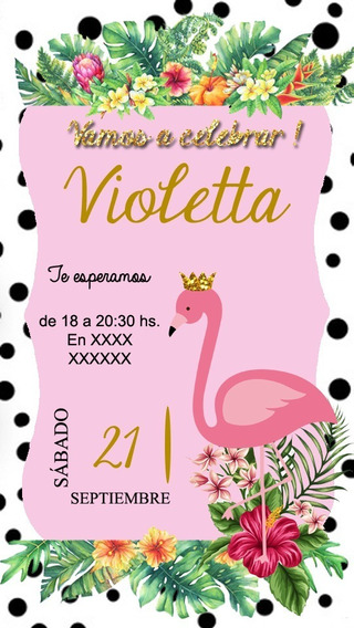 Cisne Flamenco Invitación Tarjeta Digital Imprimible Whatsap