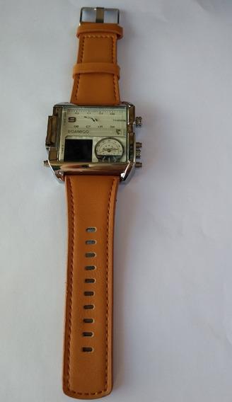 Relógio Quadrado Marrom Pulso Masculino 3 Boamigo Promoção