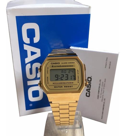 Relogio Digital Casio Unisex A168 Retrô Dourado Original Nf