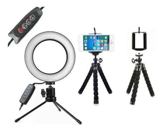 Kit Youtuber Led Ring Light Refletor Bicolor Suporte Celular Selfie Maquiagem 2 Temperaturas + Tripé Direcional