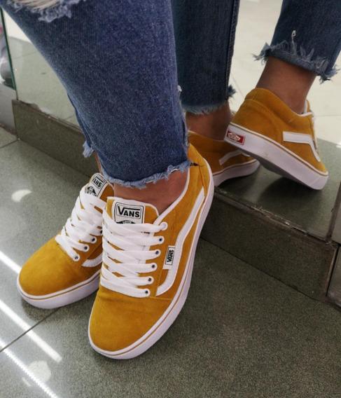 zapatillas vans mujer mostaza
