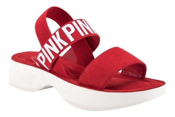 Sandalia Mujer Rojo Fashion Comodo Vacaciones 829522 Dya1