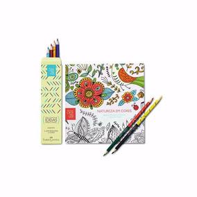 Livro Para Colorir Natura Crer Para Ver Em Cores + 6 Lápis
