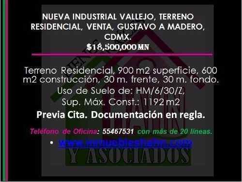 Nueva Industrial Vallejo Terreno Residencial Venta Gustavo A Madero Cd