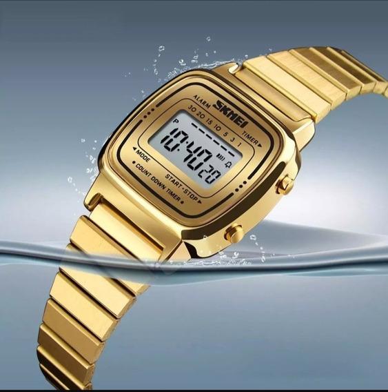 Relógio Skmei 1252 Feminino Dourado Tipo La670 Retrô Vintage