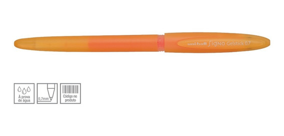 Caneta Gel Uniball 0.7mm Ponta Fina Escolar Stick Laranja
