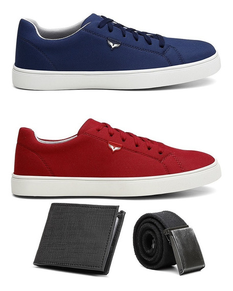 Combo 2 Pares Sapatenis Masculino Tenis Casual Cinto Carteir