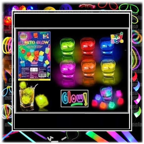 12 Cubos Hielos Luminosos Quimicos Neon Luz Tragos Deco