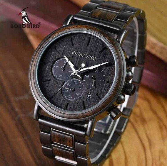 Relógio Masculino De Madeira E Aço Inoxidável Bobo Bird Q26