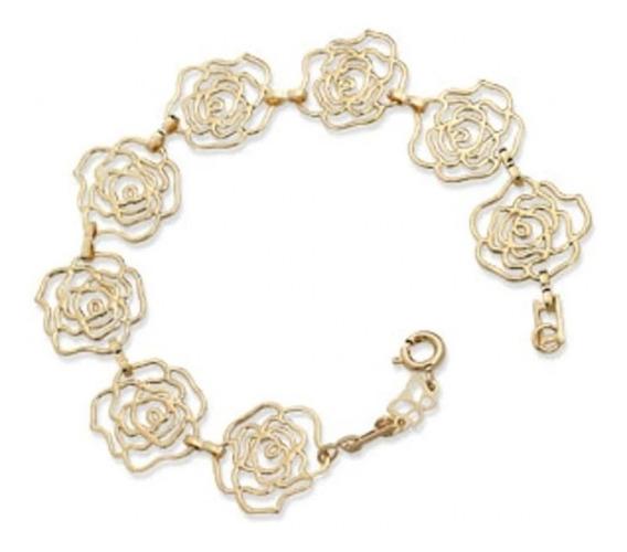 Pulseira Pequenas Rosas Vazadas Rommanel 550765 19 Centímetr