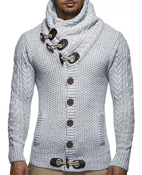 Suéter Casuales Para Hombre De Cuello Alto De Solapa L-4xl