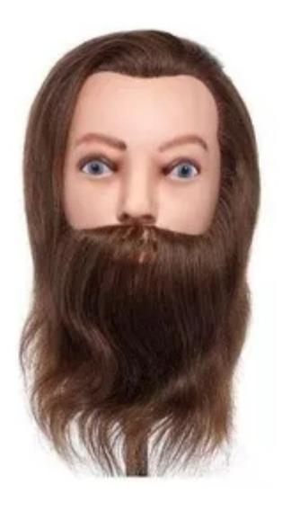 Manequim Cabeça De Boneca Masculina Natural C/ Barba Sem Suport