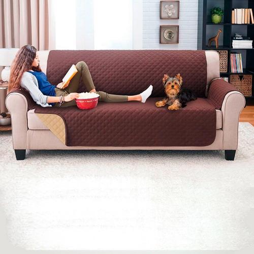 Imagen 1 de 1 de Protector De Sofa 3 Puestos Doble Faz Chocolate - Camel