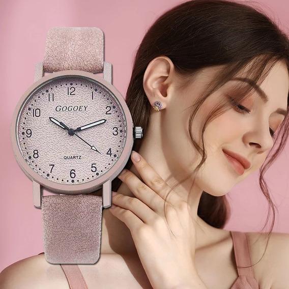 Relógio Feminino Barato Rosa Nude Pulso Menina Couro Pop