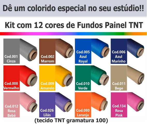Fundo Fotográfico Infinito Kit Tnt 12 Cores - Med 1,40x2,00m