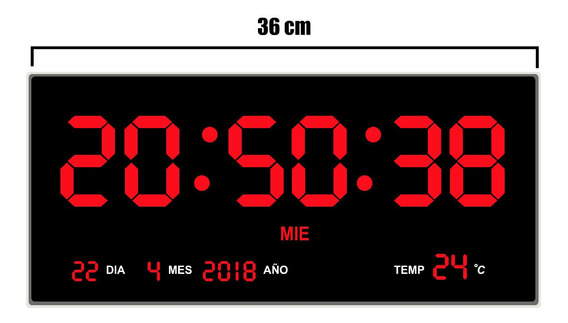Reloj De Pared Digital Led Rojo 36 X 15 Cm Termometro