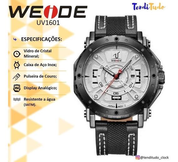 Relógio De Couro Original Presente Pai Weide 1601 Preto