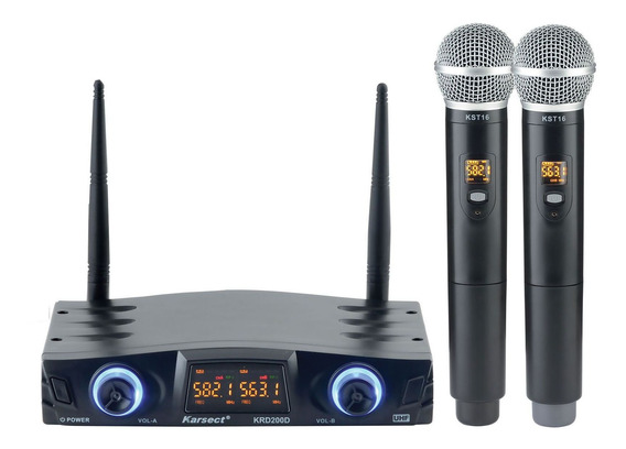 Microfone Karsect Sem Fio Krd200 Dm Uhf Mão Duplo