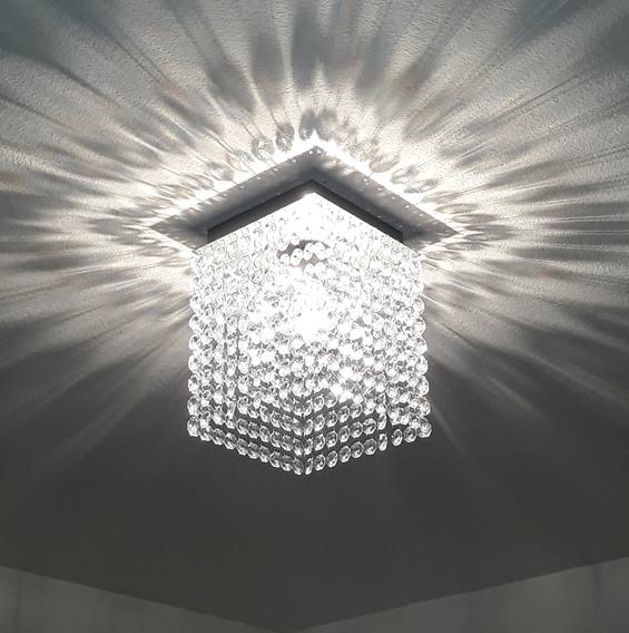 Lustre De Cristal Acrílico Brilhante + Lampada Incandescente