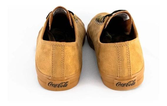 Tênis Coca-cola Cc1533 Basket Suede Camurça Caramelo